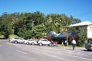 View of Daintree Village with rainforest background, timber gallery and Big Barramundi sculpture