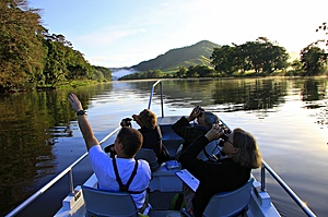 Birdwatchers on boat on Daintree River