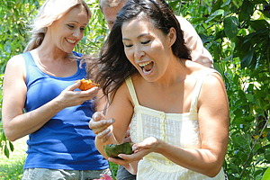 People tasting tropical fruit in Daintree
