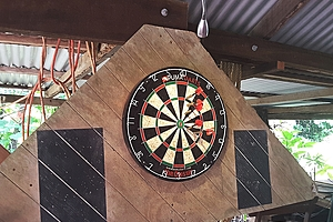 Dartboard in The Shed at  Daintree Valley Haven